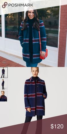 "Brushed Plaid Coat (Brand New With Tags) Infused with the luxe dose of wool, this impeccably tailored piece brushes up against your luck with cozy polish. Point collar. Long sleeves. Hidden button front. Flap Besom pockets. 33"" long. LOFT Jackets & Coats"
