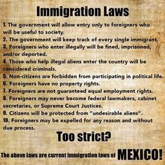 Explain how this is acceptable for Mexico and NOT for America. Explain Why Mexico doesn't want America to enforce its border and immigration policies. AMERICA needs to enforce our immigration laws.