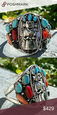 Francisco Gomez Sterling turquoise Kachina bracele Incredible made by renowned silversmith mastercraftsman Francisco Gomez Jewelry Bracelets