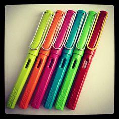 Lamy Safari fountain pens.