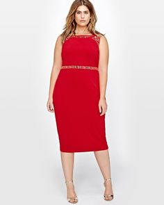 ONLINE EXCLUSIVE. A sexy red dress is always good to have to make heads turn. Look spot on with this plus size bodycon dress by Sangria, featuring beads details on the neckline and waist for a chic & unique look.<br /><br />Fit & cut<br />- Bodycon fit<br />- Round neck<br />- Sleeveless<br /><br />Design details<br />- Embellishments<br /><br />