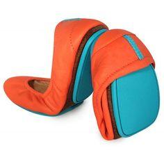 Tangerine Tieks with blue accents