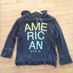 Thin American Eagle Hoodie Thin American Eagle Hoodie, super breathable and light! Not much wear and in perfect condition! American Eagle Outfitters Tops Sweatshirts & Hoodies