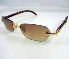 0465605a15 Cartier 2902519 Wooden Sunglasses In Gold with Brown lens