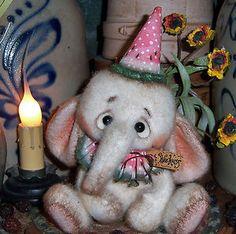 "Primitive Raggedy Fuzzy Elephant Bear 5"" Circus Doll ★ Vtg Patti's Ratties Ornie"