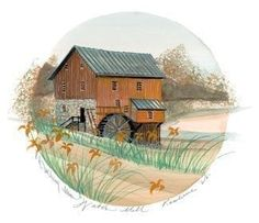 Image Size: 7 x ins. Paper Size: x ins Located in northern Rockbridge County, is a working flour mill, built by Captain Joseph… Waynesville Ohio, Art Loft, Flour Mill, Moss Art, Water Mill, Autumn Art, Paper Size, Canada Goose, Snow Globes