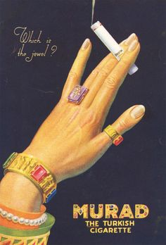 Vintage jewelry ad. (actually this is a Murad, Turkish cigarette ad, but the jewelry is so cool)inspiration brought to you by www.aussiebeader.com