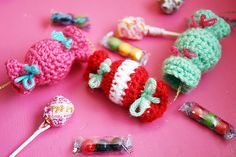 Free Crochet Pattern + Video Tutorial: Candy Garland or Candy Ornaments - done in rows not rounds so really good for begginers