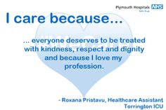 This is why Roxana, a Healthcare Assistant on the Cardiac Intensive Care Unit, cares. Emergency Department, Intensive Care Unit, Midwifery, I Care, Trust Me, Charity, Health Care, The Unit, Feelings