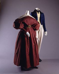 Walking ensembles, 1835, the similarities between men's and women's fashion extended to footwear...Women could wear flat slippers or tiny booties not so different from the boots & walking shoes of men.