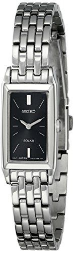 Seiko Womens SUP043 Stainless Steel and Black Dial Baguette Solar Watch -- Check this awesome product by going to the link at the image.