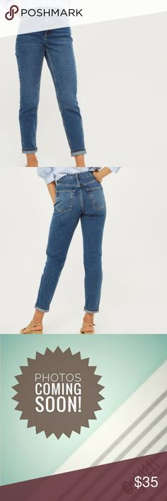 """Topshop MOTO Dark Blue Mom Jeans Topshop MOTO Dark Blue Mom Jeans Off-duty styling never looked so good. Crafted from pure cotton, our MOTO mom jeans come in authentic dark blue rigid-look denim. Cut with a high-waist and a tapered leg, they are finished with multiple pockets and classic trims. Wear them folded at the cuffs to keep them looking cool. 100% Cotton. Machine wash. Size 32, women's size 10 Flat measurement 16.5"""" waist  24"""" inseam Excellent preowned condition Topshop Jeans Ankle…"""