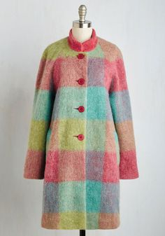 Exemplify expertise in chilly weather charm by stepping out for the day in this colorful coat! Mint, magenta, turquoise, and chartreuse plaid stands out from the high neckline down past the coveted pockets of this adorable layer, boasting your ability to make even the coolest of days all the brighter.