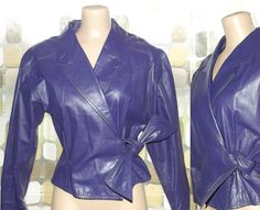 Vintage 80s Dark Purple Leather Cropped Jacket Wrap Side Tie M/L Fitted Waist Motorcycle - http://www.gezn.com/vintage-80s-dark-purple-leather-cropped-jacket-wrap-side-tie-ml-fitted-waist-motorcycle.html