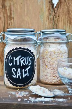 Citrus Sea Salt: - Combine Sea Salt with 4 tbsps. of citrus zest - Bake on a baking sheet for 1-2 hours to infuse the salt and dry the zest - Put salt mixture in a food processor and pulse until mixed thoroughly - Pour into a cute jar and decorate!