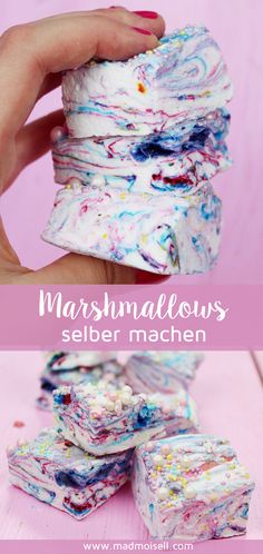 Easy Cacke : Marshmallows are made quickly and easily with just a few ingredients. Marshmallow Creme, Marshmallow Fluff Frosting, Marshmallow Treats, Recipes With Marshmallows, Homemade Marshmallows, Summer Desserts, Easy Desserts, Donut Decorations, Ice Cream Party