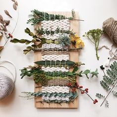 ENVIRONMENT: Retail Interiors — Trilby Nelson Seasonal Weaving Inspiration - natural materials with yarn Weaving Projects, Weaving Art, Tapestry Weaving, Loom Weaving, Craft Projects, Tapestry Wall, Hand Weaving, Diy And Crafts, Embroidery