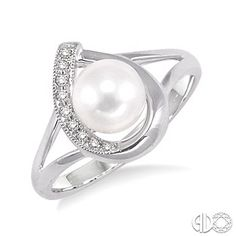 6.5 MM Cultured Pearl and 1/20 Ctw Single Cut Diamond Ring in Sterling Silver
