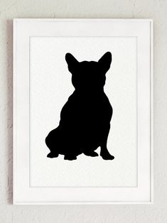 Set of 9 French Bulldog Silhouettes Home Decor. Black Dog Figurines Gift Idea. Custom Pet Portraits Wall Decor. Frenchie Giclee Art Prints. The price