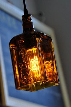 Recycled Whiskey Bottle Hanging Pendant Lamp - want to do in basement!