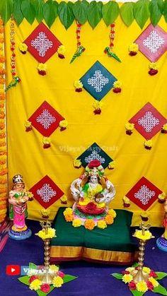 Housewarming Decorations, Diy Diwali Decorations, Home Wedding Decorations, Backdrop Decorations, Festival Decorations, Flower Decorations, Ganpati Decoration Design, Mandir Decoration, Ganapati Decoration