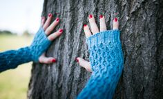 Custom Hand Knit Honeycomb Gauntlet Fingerless by Sugarboys