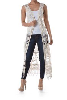 Crochet floral design long vest