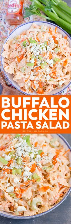Buffalo Chicken Pasta Salad - Perfectly customizable salad with chicken, buffalo sauce, blue cheese and Ranch. Great for summer parties and fall tailgating!