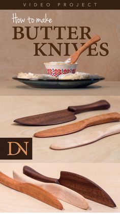 Builds up to 16000 Carpentry Projects - This project is a fun way to turn scraps into beautiful wooden knives that can be used for butter or other soft spreads. Builds up to 16000 Carpentry Projects - Get A Lifetime Of Project Ideas and Inspiration! Wood Projects For Beginners, Small Wood Projects, Scrap Wood Projects, Wood Turning Projects, Wood Working For Beginners, Diy Projects, Dremel Projects, Wood Turning Lathe, Welding Projects