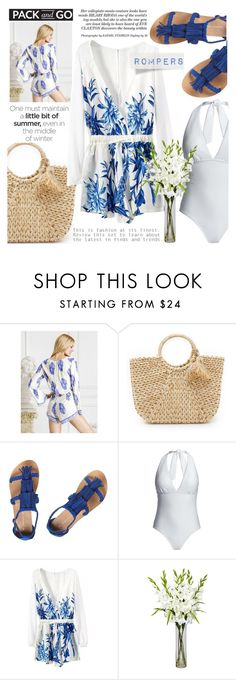 """""""End The Summer Romper"""" by cinnamonbelle ❤ liked on Polyvore featuring Hat Attack, Dorothy Perkins, Canvas by Lands' End and Nearly Natural"""