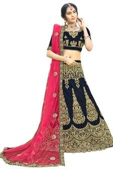 Buy Blue embroidered net semi stitched bridal lehenga online from Mirraw. Latest Bridal Lehenga, Bridal Lehenga Online, Bridal Lehenga Choli, Punjabi Lehenga, Wedding Lehenga Designs, Choli Designs, Two Piece Skirt Set, Bride, Collection