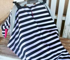 black and white stripe with pink cotton car seat canopy cover w/ or without snap opening Canopy Cover, Car Seats, Trending Outfits, Black And White, Cotton, Mens Tops, Pink, Vintage, Fashion