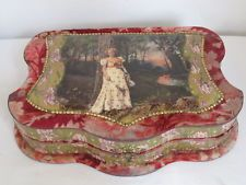 Antique Victorian Ladies Celluloid & Velvet Vanity Dresser Box with Contents