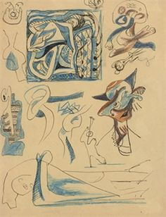 """Untitled - 1939-41 - Pen, ink, crayon on paper - 11"""" C 8-1/2"""" - Sold by Christies in 2008 for $37,500 - Copyright PKF/ARS"""
