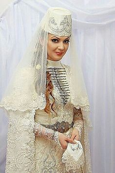 Traditional Ossetian wedding dress.  Clothing style: early 20th century.