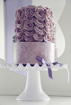 Lilac Purple Rosette Wedding Cake
