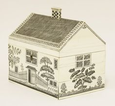 A Vizagapatam ivory workbox, c.1800-1820, modelled as a cottage, the sides engraved with windows, a front door, flowers and a picket fence, the hinged top opening to reveal a sandalwood-lined interior, and further lidded compartments, over side drawer, 17cm wide Sold for £6,300 on 5th December 2017