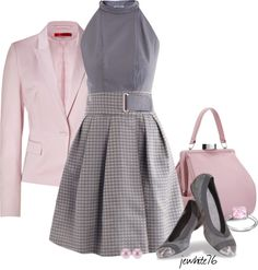 """Working in Pink & Gray"" by jewhite76 on Polyvore"