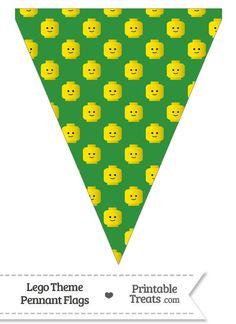 Green Lego Theme Pennant Banner Flag--- https://www.pinterest.com/printabletreats/lego-theme-printables/