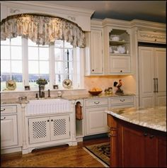 House Cornice, Fabric Cornice Box, Valances For Kitchens, And Kitchens Wood - Traditional Kitchen By Superior Woodcraft, Inc. Kitchen Cabinets Decor, Farmhouse Kitchen Cabinets, Kitchen Cabinet Design, Home Decor Kitchen, Home Kitchens, Kitchen Ideas, Kitchen Inspiration, Kitchen Sinks, Walnut Kitchen