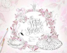 Ballerine aquarelle Clipart blanc Black Swan Lake Illustration