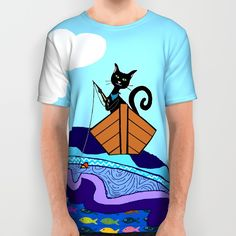 Cat  Fishing All Over Print Shirt