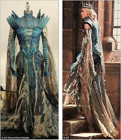 Worn for, like, two seconds on film. AMAZING dress made with beetle wings and mad skill.