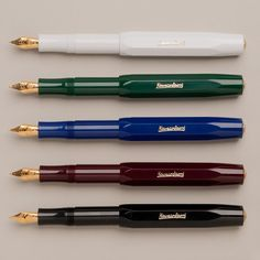 """Kaweco """"Sport""""// I have the oxblood one, converted it to a eyedropper. Fun pen, but don't use it much."""