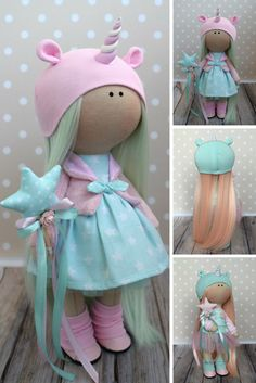 Unicorn Soft Doll Textile Tilda Blue Doll Rag Baby Doll Gift Poupée Muñecas Doll Winter Handmade Doll Nursery Art Doll Child Gift by Olga G This is handmade cloth doll created by Master Olga G (Vinnitsa, Ukraine). Doll is READY to ship. Doll can be a great present for your children, family, colleages or friends. Style of doll easily helps to use such doll as home decoration and interior design.