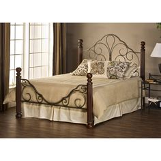 Comfy Queen Size Mattress And Brown Metal Bed Frame Set On Wooden Floor In Bedroom As Well As  And