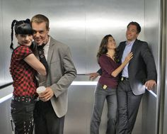 NCIS team in the famous elevator.