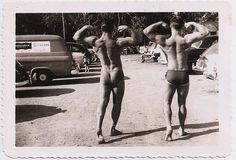 1950s two men bodybuilders muscle masculine speedo briefs cut swimwear vintage photo by Christian Montone, via Flickr