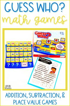 Are you looking for new math games that are fun and engaging to use during math workshop, guided math, or math centers? These addition, subtraction, and place value guess who games are just what you've been looking for. These interactive, hands-on math games are low prep and great for first grade through third grade. Use these math activities as morning work, early finishers, or for indoor recess. These are great for math facts practice. Try them today!