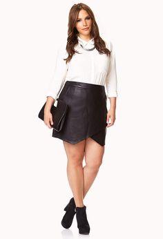e1140b0e3c614 Forever 21 + Plus Size 16 Faux Leather Wrap asymmetrical Skirt Mini Short